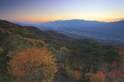 Autumn leaves and night view seen from the Central Alps such as Kisokomagatake Footage