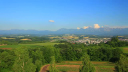Hillock and Tokachi mountain range viewed from the observatory of the northwest  Footage