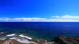 喜屋武岬の岩壁と海と飛行機 Footage