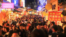 A crowd at the Shilin Night Market Footage