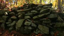 女神岳城跡の石垣と紅葉の樹林 Footage