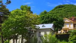 元町公園から望む旧函館区公会堂と函館山 Footage