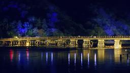 Arashiyama Hana Touro, Illuminated Togetsukyo Bridge Footage