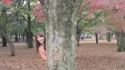 公園の木陰から笑う若い女性 Footage