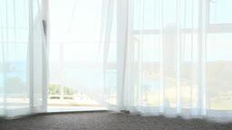 風で揺れる窓際のカーテン Footage