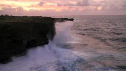 万座毛の波浪と夕焼け Footage