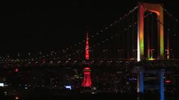レインボーブリッジと東京タワーの夜景 Footage