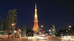 東京タワーのライトアップ夜景 Footage