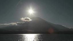 山中湖と富士山山頂に沈む太陽 Footage