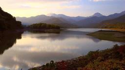 笹ケ峰ダムと火打山と妙高山と夕焼け Footage
