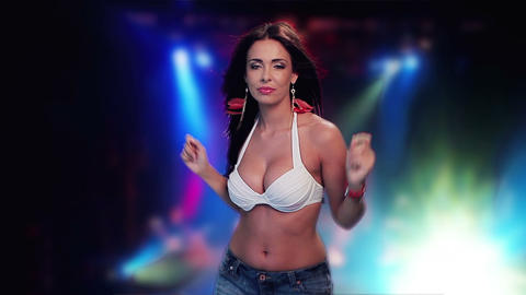 Sexy woman dancing in front of strobes Stock Video Footage