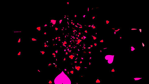 HD Looping Falling Hearts Animation with Alpha Channel... Stock Video Footage
