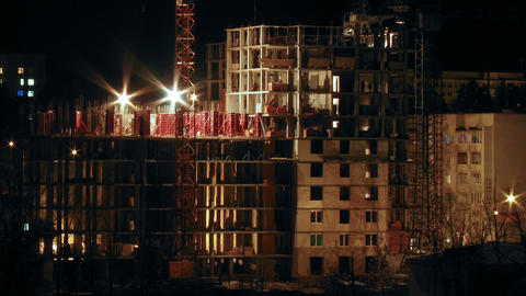 Construction site in the night timelapse Stock Video Footage