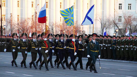 Military flag-bearers walks during parade Stock Video Footage
