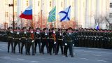 Military flag-bearers walks during parade Footage