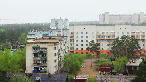 Snow of summer, footage taken in siberian city Stock Video Footage
