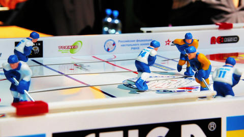 Table hockey amateur tournament Stock Video Footage