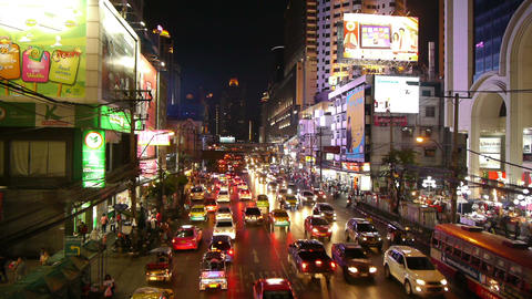 Busy Street Scene In Bangkok, Thailand Stock Video Footage