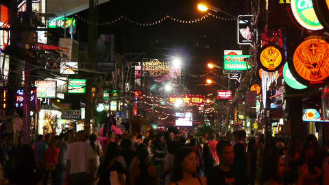 Night Walking Street, Patong, Thailand Stock Video Footage