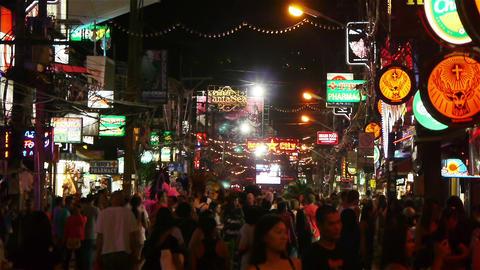 Night Walking Street, Patong, Thailand Stock Video Footage
