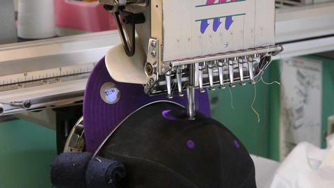 Embroidery on a cap Stock Video Footage