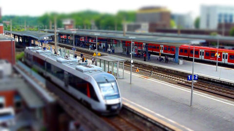 10700 train station tilt shift time lapse Stock Video Footage