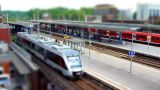 10700 train station tilt shift time lapse Footage