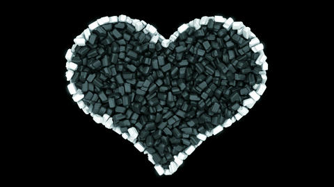 Sweet love and Valentine: black and white Candies heart... Stock Video Footage