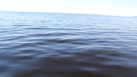 filming the water surface of the fast moving motor boat Footage