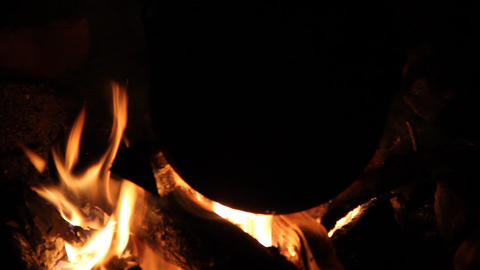 pot on the bonfire Stock Video Footage
