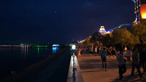 Evening Heihe Embankment with Flying Lamps Stock Video Footage