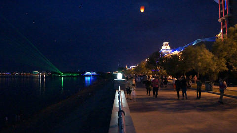 Evening Heihe Embankment with Flying Lamps Footage