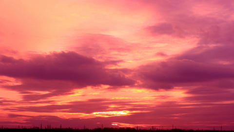 Sunset with clouds, evening (Time Lapse) Stock Video Footage
