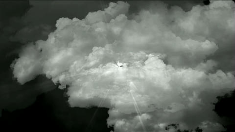 fast flying through storm clouds & power rays,time... Stock Video Footage