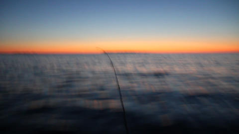 towards the sunset from the fast moving boats Stock Video Footage