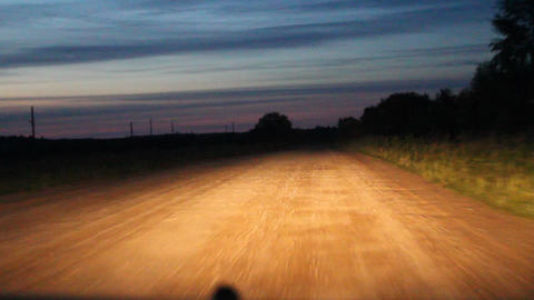 video night dirt road from a moving car Stock Video Footage