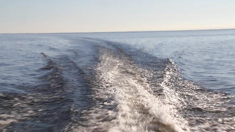 wake of fast moving motor boat Stock Video Footage