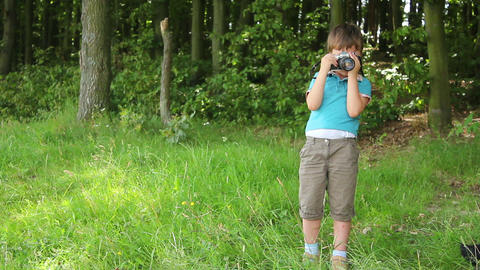 Boys in forest this photo 5 Stock Video Footage
