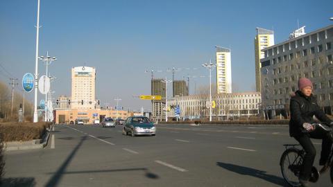 黑河 Heihe Daily Street Traffic Timelapse Stock Video Footage
