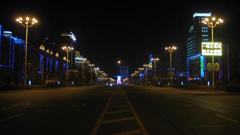 Heihe Night Street Traffic Timelapse 02 Footage
