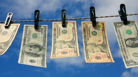 paper dollars are drying on rope Stock Video Footage