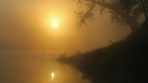 timelapse landscape with sunrise over river Stock Video Footage