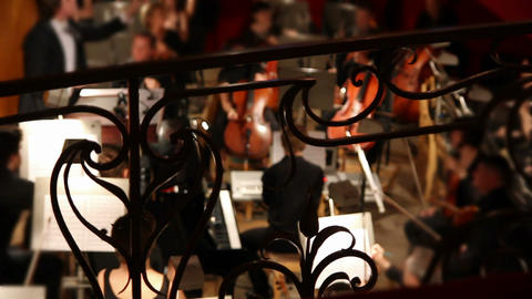 view on orchestra in theatre - timelapse Stock Video Footage
