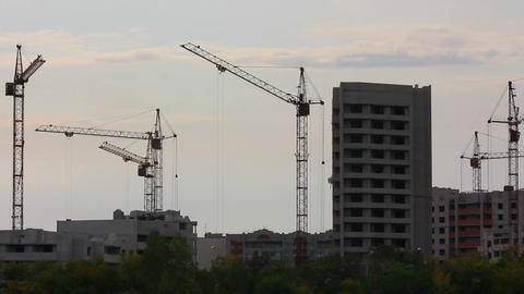 construction cranes working - timelapse Stock Video Footage