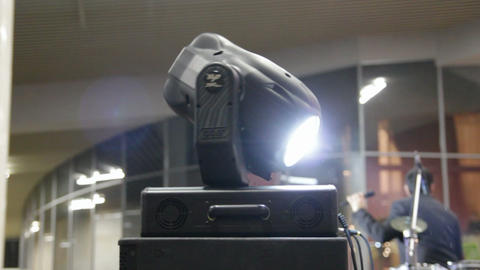 lighting equipment at concert - turning spotlight Stock Video Footage
