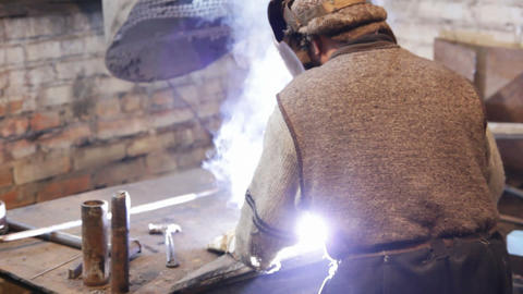 welder at work Stock Video Footage