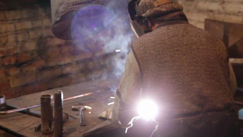 welder at work Stock Video Footage