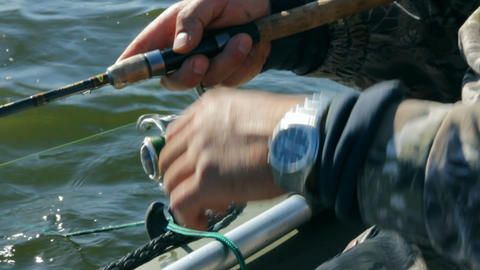 fishing with spinning - close-up Stock Video Footage