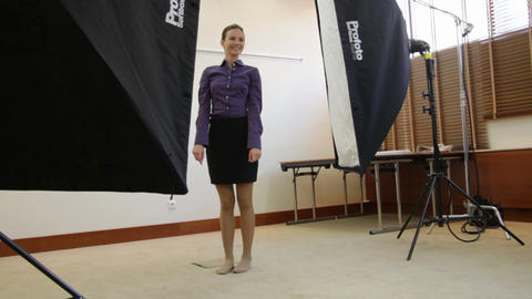 jumping model posing in studio Stock Video Footage