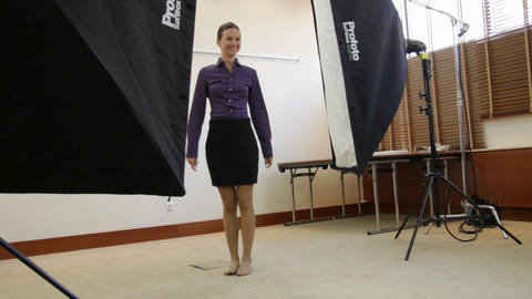 jumping model posing in studio Stock Video Footage